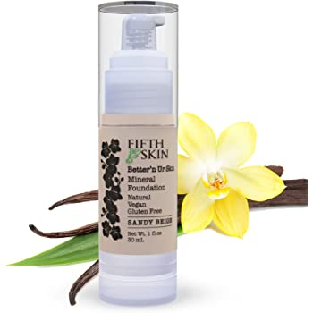 Fifth & Skin (SANDY BEIGE) Better'n Ur Skin Liquid Foundation – Natural – Organic - Gluten Free - Vegan - Cruelty Free - Palm Free - Natural Sun Protection – Healthy, Buildable Coverage - 1 oz.