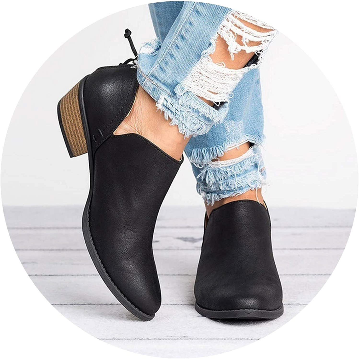 Women Square Heel Slip on Women High Heels shoes Pointed Toe Casual Fashion Boots