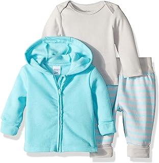 Hanes Ultimate Baby Baby-Boys BFFTZ3 Flexy Fleece Jogger with Long Sleeve Crew and Fleece Hoodie Layette Set - Multi