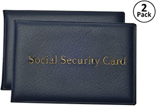 Social Security Card Protector with 2 Clear Card Sleeves - Holds Medical Prescriptions, Medicare Card Holder, Driver License, Health Insurance, ID, Credit Card Holders, Blue, 2 Pack