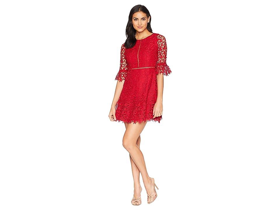 BB Dakota In The Moment Lace Dress (Scarlet Red) Women