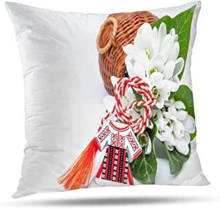 Batmerry Spring Pillows Decorative Throw Pillow Covers 18x18 Inch, and Red and White String White with Space European First Tradition Double Sided Square Pillow Cases Pillowcase Sofa Cushion