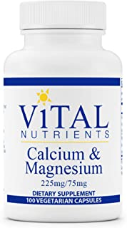 Vital Nutrients - Calcium and Magnesium - Cardiovascular, Muscle, and Bone Support - 100 Vegetarian Capsules per Bottle - ...