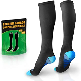BAMS Premium Bamboo Womens and Mens Compression Socks - Antibacterial 20-30 mmHg Graduated Knee-High Sock with Hypoallerge...