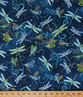 Cotton Dance of the Dragonfly Dragonflies Insects Magical Blue Swirls Gold Metallic Cotton Fabric Print by the Yard (8498m-55)