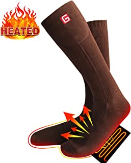 Electric Rechargeable Battery Heated Socks Winter Warm Comfortable Cotton Knitted Powered Sox Heated Skiing Running Camping Hiking Motorcycling Socks 3 Level Temperature Setting Sox for Men&Women