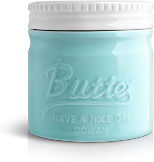 DOWAN Porcelain Butter Keeper Crock, Mason Jar Style Butter Crock, French Butter Dish with Lid, Embossed Butter Bell for Soft Butter, Blue