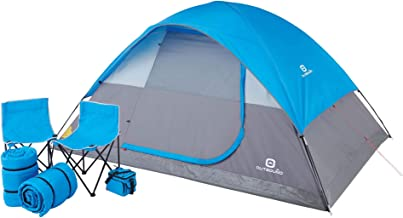 Outbound 5-Person Tent | Six-Piece Premium Combo Set | Includes Carry Bag, 2 Sleeping Bags, 2 Camping Chairs, and Cooler | Dome Tent, Blue