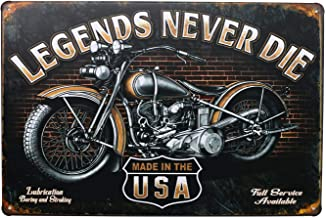 UOOPAI Legends Never Die, Classic Motorcycle Retro Poster Metal Tin Sign, Vintage Garage Wall Decor