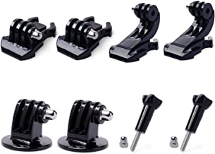QKOO 2X Buckle Base Mount + 2X J-Hook + 2X Tripod Mount Adapter + 2X Thumbscrew for GoPro Hero 8 7 Max (2018) 6 5 4 3+ 3 2 Black Silver Session Fusion