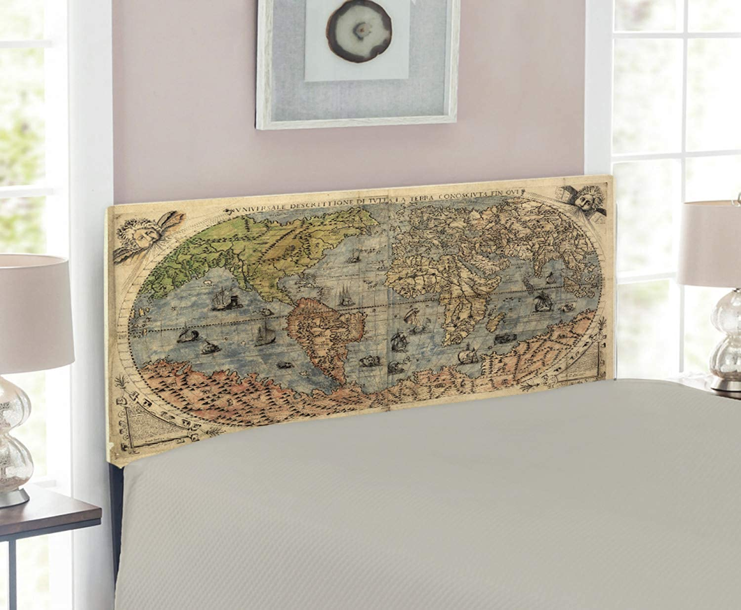 Lunarable Antique Headboard for Twin Size Bed, Ancient Map of World Global History Stained Paper Oceans Lands Vintage Atlas, Upholstered Decorative Metal Headboard with Memory Foam, Cream Green pink