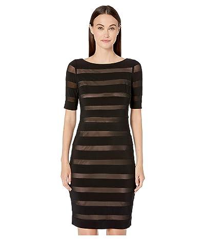 Adrianna Papell Matte Jersey Mesh Banded Sheath Dress (Black/Pale Pink) Women