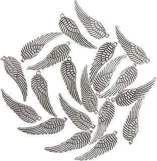 20 Stück Antik Silber Engel Flügel Förmig DIY-Anhänger für Halsketten,