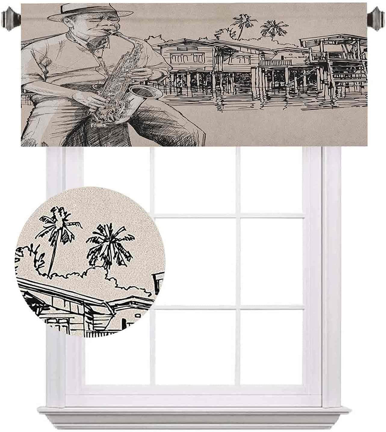 Jazz Music Half Window Curtains Saxophonist Fixed price for sale with Playi Art Sales