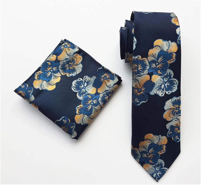 YINGNBH Ties New Floral Hanky Tie Set Silk Red Yellow Neck Ties for Men Pocket Square Handkerchief Suit for Wedding (Color : 10)