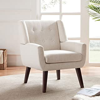 HUIMO Accent Chair, Button Tufted Upholstered Sofa Chairs, Comfy Linen Fabric Armchair for Bedroom, Reading, Mid-Century M...