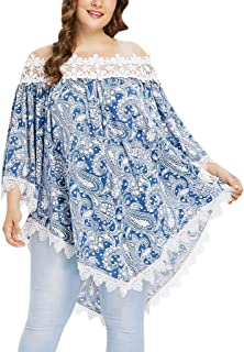 DADKA Womens Blouses Casual Lace Hollow Out Long Sleeve Slash-Neck Tops Blouse Shirts