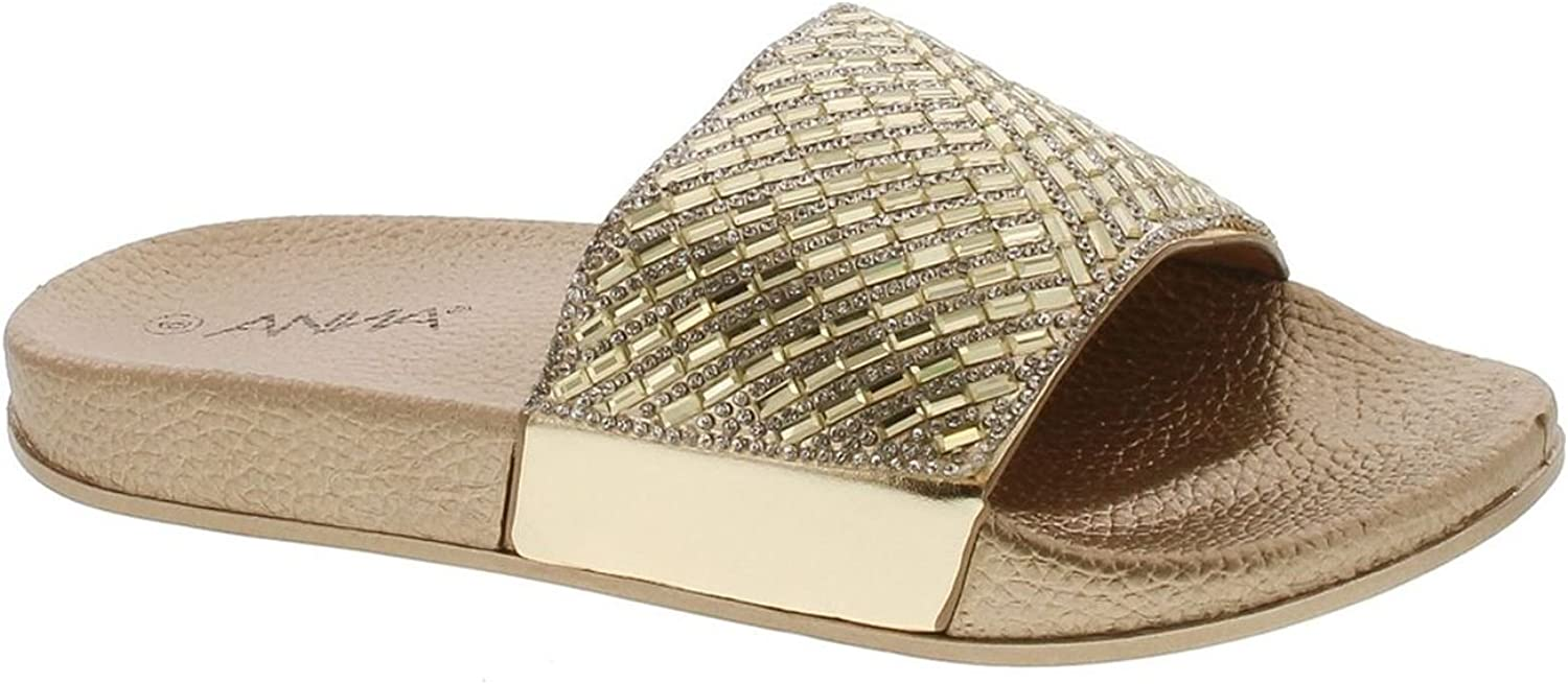 Static Fashions Womens Polly-268 Sparkling Metallic Dazzling Slipper Sandals