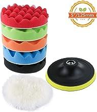 TedGem Kit de esponja de pulido con adaptador de taladro y almohadillas de cera de lana, juego de 6 almohadillas de pulir para coche, pulidor y depilación