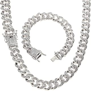 13mm Heavy Iced Out Chain Bling Bling Miami Cuban Link Chain Hip Hop Necklace Chain Silver Plated Rhinestone CZ Clasp Mens...