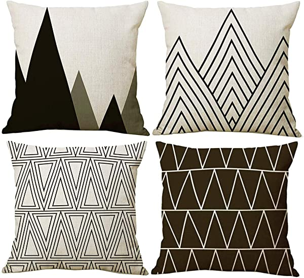NYKKOLA Modern Simple Geometric Style Linen Throw Pillow Covers Pack Of 4 Decorative Pillowcase Cushion Cover For Sofa Bedroom Car 18 X 18 Inch 45 X 45 Cm Style 38