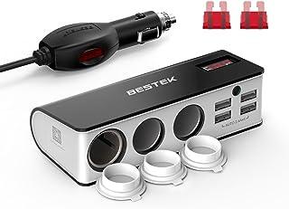 BESTEK Chargeur Allume Cigare Adaptateur Chargeur de Voiture 12V et 24V avec Triple..