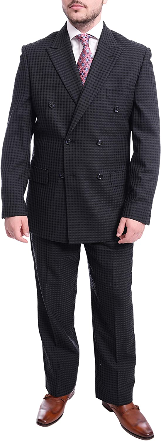 Steven Land Classic Fit Blue Tonal Check Double Breasted Wool Suit
