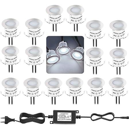Bojim Lot de 16 Mini Spot LED Encastrable Extérieur, IP67 Étanche, Lumière Blanc du Jour 4000K, Lampe de sol 32MM 0.6W DC12V, Eclairage Extérieur Pour Chemin Terrasse Bois Piscine Escalier