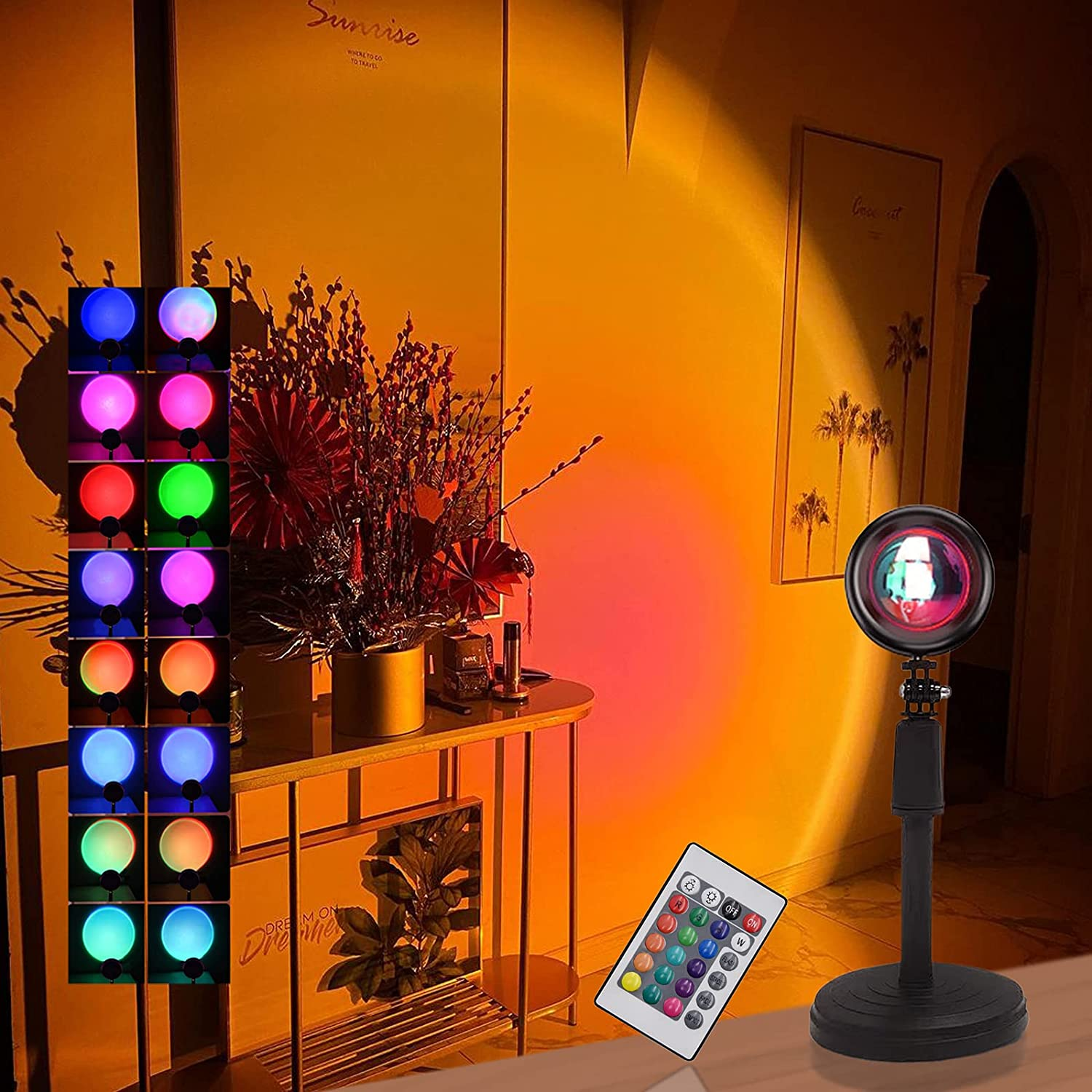 High material YAKADE 16 Ranking TOP4 Colors Sunset Projection Lamp Light Night wit Rainbow