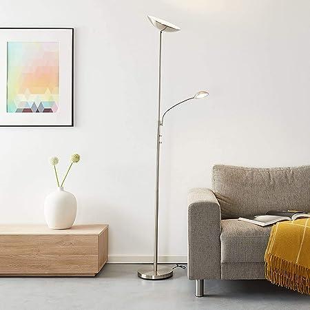 Lampadaire LED avec liseuse, 1 LED 18 W intégrée, 1 x 1650 lumens, 3000 K, métal, fer.