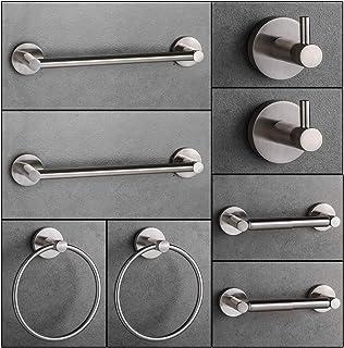 "LUCKUP Bathroom Hardware Set Towel Bar Accessory 8 Piece,Include 2 x 24""Towel Bar, 2 x Robe Hook, 2 x 6.6""Towel Ring 2 x7""Toilet Paper Holder, Brushed Nickel"