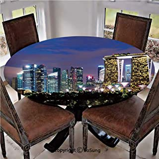 Elastic Edged Polyester Fitted Table Cover,Singapore Cityscape at Night Modern Architecture Urban Life Asian Landmark,Fits up 40