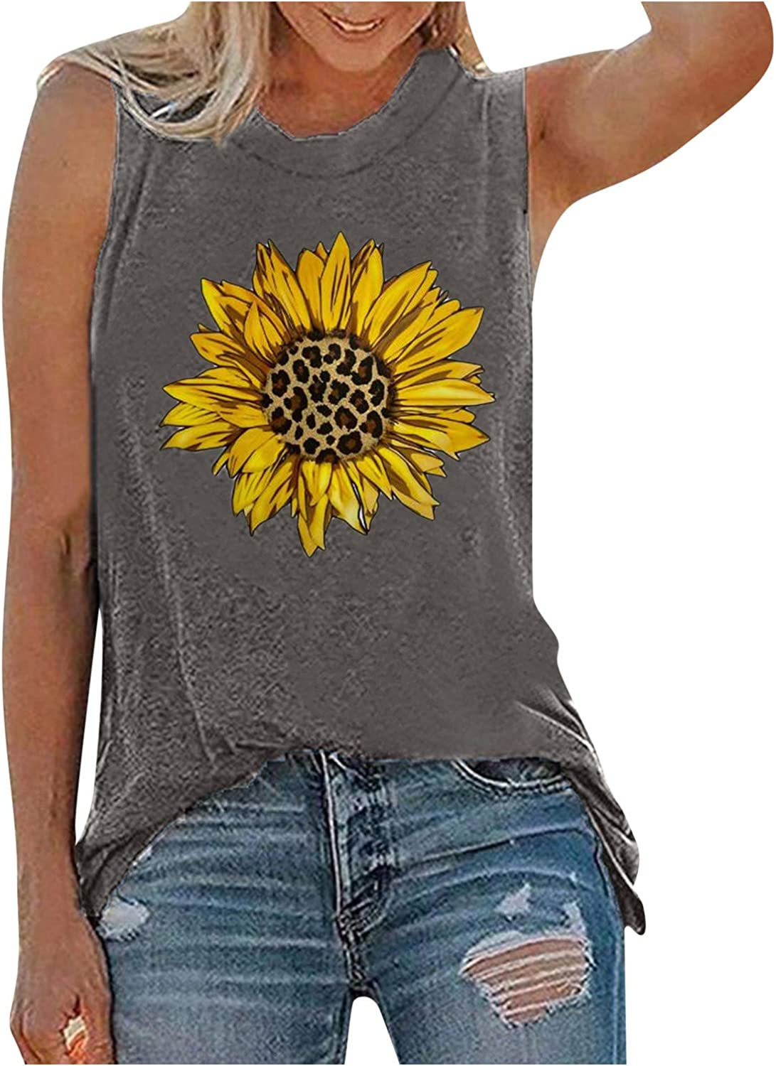 Tank Tops for Women, Fouth of July Sleeveless American Flag Sunflower Printed O-Neck Tops Tunic Blouse Tops Tees