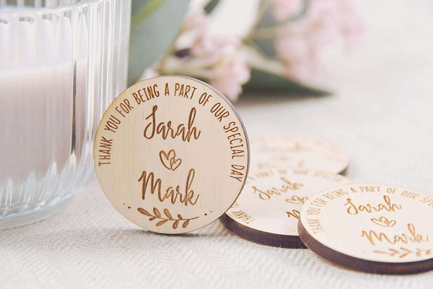 Amazon.com: 10Pcs Round Wooden Wedding Magnets, Wedding Favor