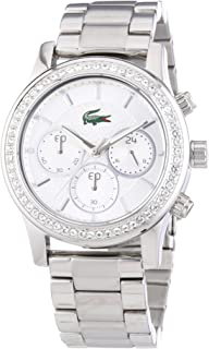 Lacoste 2000833 Strass Embellished Stainless Steel Round Analog Water Resistant Watch for Women - Silver