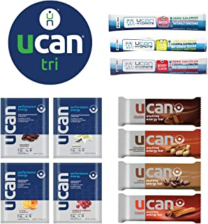 UCAN Triathlon Endurance Starter Pack with 3 Hydrate Sticks, 4 Anytime Energy Bars, 4 Performance Energy Packets with SuperStarch