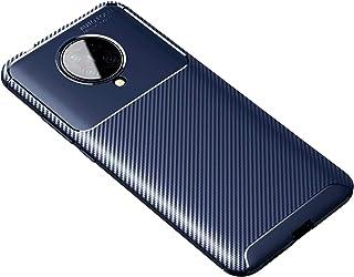 Soososケース対応Xiaomi Poco F2 Proケースカーボンファイバー超薄型軽量TPU软硅胶耐衝撃携帯電話保護カバー【無料2強化ガラスフィルム】(青い)