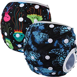 Storeofbaby Reusable Washable Baby Swim Diapers with Adjustable Snaps for Beach Pool