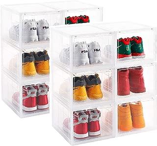 AOTENG STAR Storage Shoes Box Womens Mens Shoe Storage Box Plastic Foldable Stackable Shoe Container Clear Closet Shelf Shoe Organizer-Six Pack