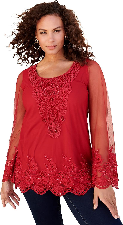 Roaman's Women's Plus Size Mesh Embellished Tunic Pearl Beaded Lace Long Shirt Blouse