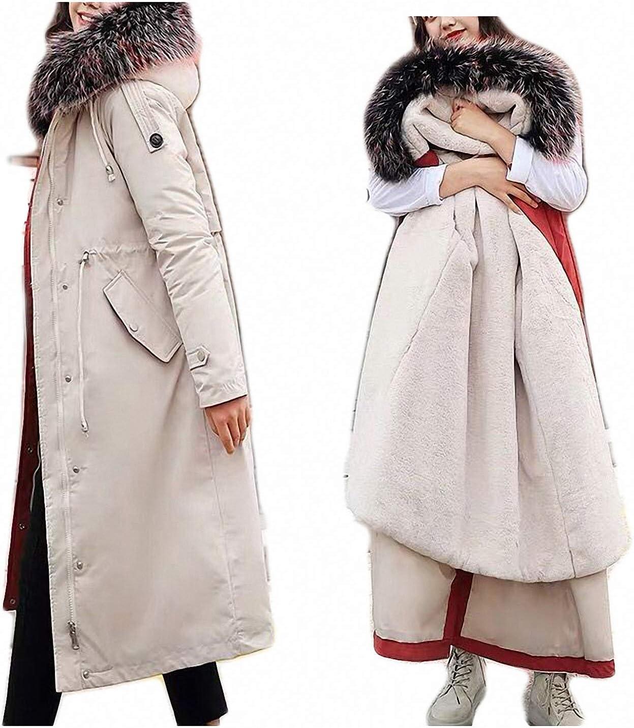 Long Detachable Lamb Hair Liner Cotton Jacket Coat Warm Women's Winter Jackets Big Faux Fur Coats Parkas Beige XL