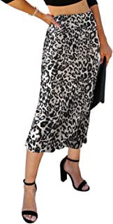 NIMIN Women's High Waist Skirt Sexy Casual Leopard Midi Skirt Chic Side Zipper Skirt