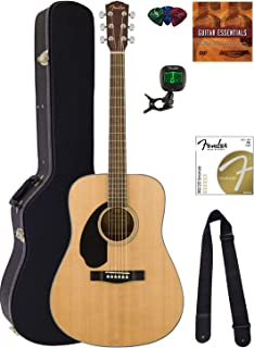 Best Fender CD-60S Solid Top Dreadnought Acoustic Guitar, Left Handed - Natural Bundle with Hard Case, Tuner, Strap, Strings, Picks, Austin Bazaar Instructional DVD, and Polishing Cloth Review