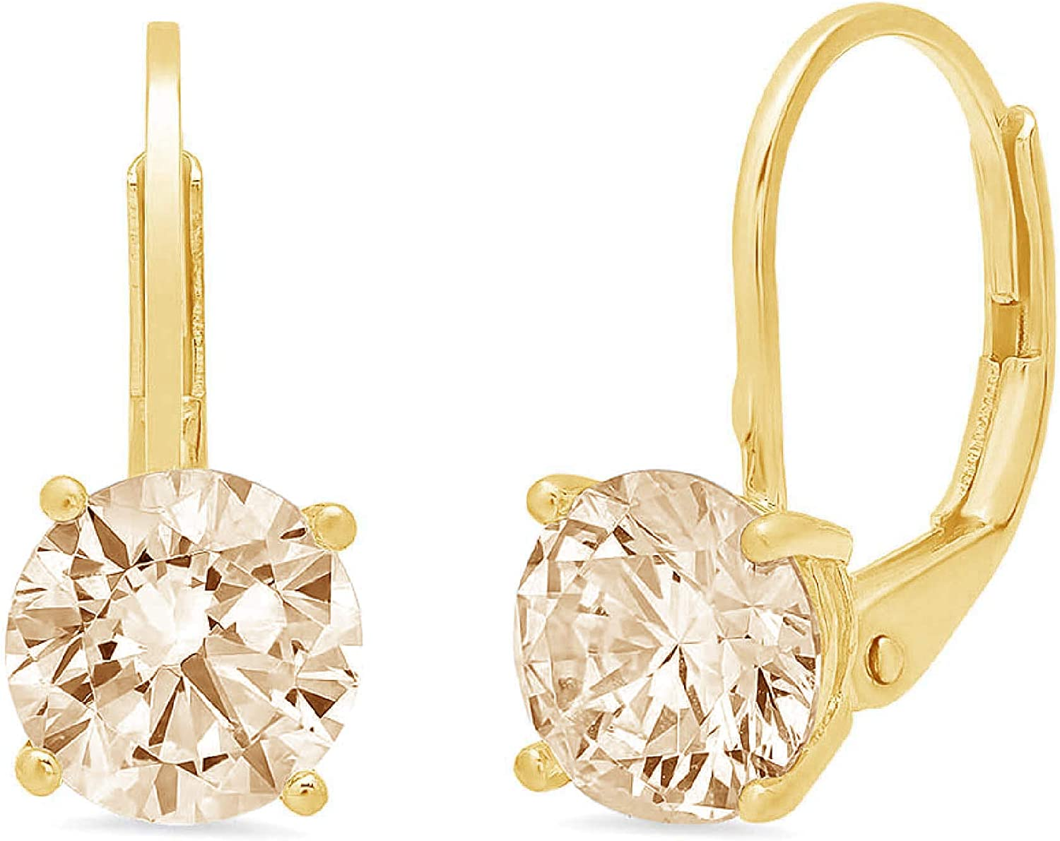 Clara Pucci 2.0 ct Brilliant Round Cut Solitaire VVS1 Flawless Natural Brown Morganite Gemstone Pair of Lever back Drop Dangle Earrings Solid 18K Yellow Gold