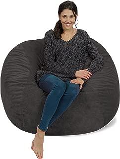 Chill Sack Bean Bag Chair: Giant 4' Memory Foam Furniture Bean Bag - Big Sofa with Soft Micro Fiber Cover - Grey Furry