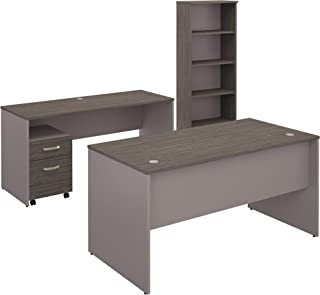Bush Furniture Commerce 60W Office Desk with Credenza, Mobile File Cabinet and Bookcase in Cocoa and Pewter