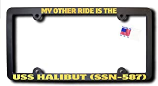 My Other Ride USS HALIBUT (SSN-587) License Frame w/METALLIC GOLD TEXT