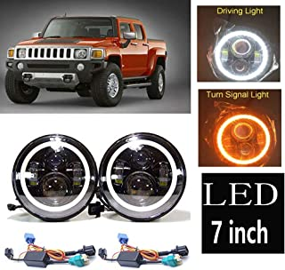 Led Headlight For Hummer H3 H3T H2 H1 2003 to 2009 AM General Hummer 1992 to 2001 LED Halo Angel Eyes DRL Headlight H4-H13 Hi/Lo Beam Lamp