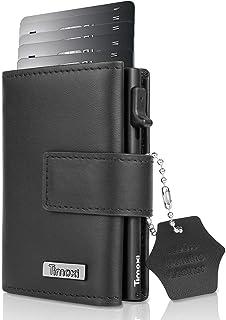 Timoxi Tarjetero Slim Wallet con pinza para billetes, aluminio y tarjetero, mini billetes, protección RFID, cartera para t...