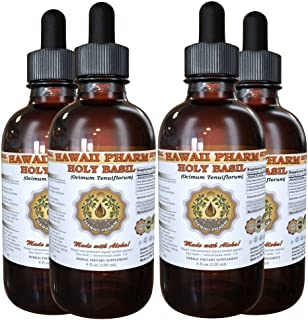 Holy Basil Liquid Extract, Organic Holy Basil (Ocimum tenuiflorum) Tincture Supplement 4x4 oz